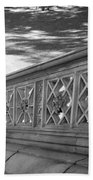Steps Of Central Park In Black And White Beach Towel