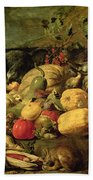Still Life Of Fruits And Vegetables Beach Towel