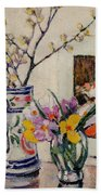 Still Life With Flowers In A Vase   Beach Towel