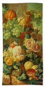 Still Life With Fruit And Flowers Beach Towel