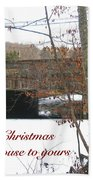 Stone Bridge Christmas Card - Our House To Yours Beach Towel