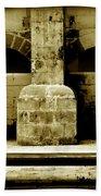Stone Face - Limestone Windows Column And Bank Create A Misterious Face Beach Towel