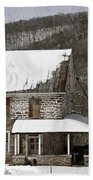 Stone Farmhouse In Snow Beach Towel by John Stephens