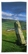 Stone On A Landscape, Ogham Stone Beach Towel