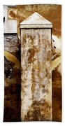 Stone Sight - Two Arches And A Column Draws A Disturbing Almost Human Face Beach Towel