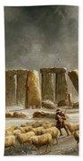 Stonehenge In Winter  Beach Towel by Walter Williams