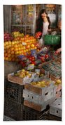 Storefront - Hoboken Nj - Picking Out Fresh Fruit Beach Towel by Mike Savad