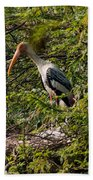 Storks Around A Nest Beach Towel