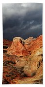 Stormy Skies Over Valley Of Fire Beach Towel