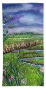 Stormy Wetlands Beach Towel