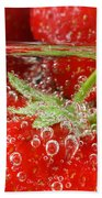 Strawberries In Water Close Up Beach Towel