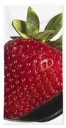 Strawberry On A Black Spoon Against White No.0003 Beach Towel