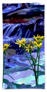 Stream And Flowers Beach Towel