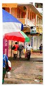 Street Scene In Rosea Dominica Filtered Beach Towel