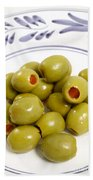Stuffed Green Olives Beach Towel