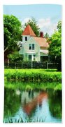 Suburban House With Reflection Beach Towel