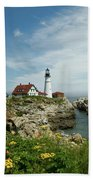 Summer At Portland Head Light Beach Towel