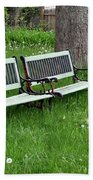 Summer Bench And Dandelions Beach Towel
