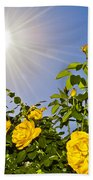 Sunflare And Yellow Roses Beach Towel by Amber Flowers