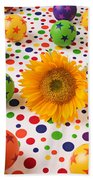 Sunflower And Colorful Balls Beach Towel