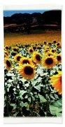 Sunflowers At Dusk Beach Towel