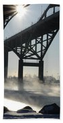 Sunrise Blue Water Bridges Fog Beach Towel
