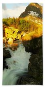 Sunrise On A Waterfall At Glacier  Beach Towel