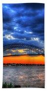 Sunset At The Bayonne Bridge Beach Towel