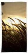 Sunset Behind Tall Grass Beach Towel