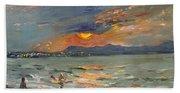 Sunset In Aegean Sea Beach Towel