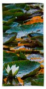 Sunset On A Lily Pond Beach Towel