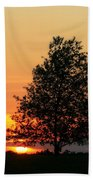 Square Photograph Of A Fiery Orange Sunset And Tree Silhouette Beach Towel