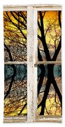 Sunset Tree Silhouette Abstract Picture Window View Beach Towel