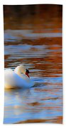 Swan Gold And Blue Beach Towel