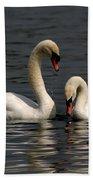 Swans Swimming Beach Towel