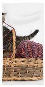 Tabby Kitten Playing With Knitting Wool Beach Towel