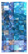 Take Me Geometric Blue Beach Towel