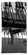 Tall Ship Canons Black And White Beach Towel