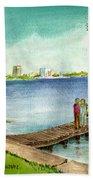 Tampa Fl Little Pier At Ballast Point Beach Towel