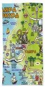 Tampa Florida Cartoon Map Beach Towel