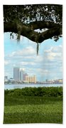 Tampa Skyline Through Old Oak Beach Towel