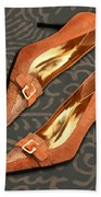 Tan Ostrich With Golden Buckles Beach Towel