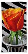 Tea Rose In Striped Vase Beach Towel