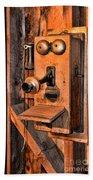 Telephone - Antique Hand Cranked Phone Beach Towel