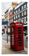 Telephone Box In London Beach Towel by Elena Elisseeva