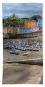 Tenby Harbour In Summer Beach Sheet
