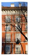 Tenement House Facade In Madrid Beach Towel