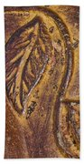 Terracotta Raised Relief Pottery Leaf Beach Towel
