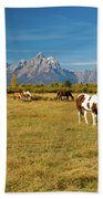 Teton Horses Beach Towel