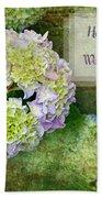 Textured Hydrangeas Birthday Mother Greeting Card Beach Towel
